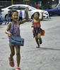 Wave (Beegee49) Tags: young girls waving running children smiling laughing street bacolod city philippines