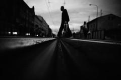 Giants among us 187.365 (ewitsoe) Tags: bnw blackandwhite monochrome city rails low man crossing winter monring dawn early atmosphere dark canon eos 6dii