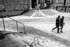 Two under the snow (Guido Colombini) Tags: lines bw rail steps winter bianconero street couple bergamoalta stair footprint snow