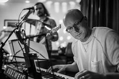 20180309_F0001: The funky keyboard player (wfxue) Tags: keyboard rockband gig musician musicalkeyboard playing portrait people candid blackandwhite bw bnw monochrome