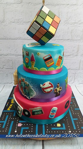 40th Birthday Cake 80s Themed With Rubix Cube