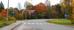 An Autumn Day In Sweden (ericgrhs) Tags: road strase sverige sweden schweden autumn fall herbst autumncolors house haus trees baum bäume zebrastreifen uppland rural countryside