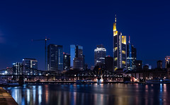 Frankfurt - Blue Hour (Aleem Yousaf) Tags: main tower skyscraper innenstadt district frankfurt germany public commercial offices neue mainzer strase hesse messeturm westendstrase1 trianon silberturm tourist morning blue hour construction cranes downtown skyline sky frankfurterbürocenter architecture eiserner steg long exposure neutral density lee filters nikkor nikon d810 2470mm dawn colorful reflections town longexposure new high view windows