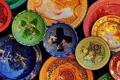 Ceramic Plates (Shutterbugsafari) Tags: clay handicraft tourism moroccan pattern berber arabic dish souk medina traditional handmade culture travel detail morocco souvenir design ornament sale earthenware color african pottery craft colorful plate marrakesh decorative market ceramic art africa shop bazaar pot store decoration