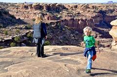 Everett & Mommy On The Slickrock Trail (Joe Shlabotnik) Tags: proudparents nationalpark utah sue hiking 2017 canyonlands everett november2017 canyonlandsnationalpark afsdxvrzoomnikkor18105mmf3556ged