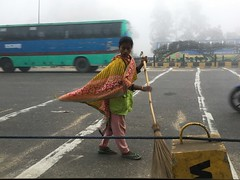 The women sweepers of dawn, braving highway traffic, fog, and pollution (olive witch) Tags: abeerhoque bangladesh bd day dhaka feb18 february fem outdoors street urban