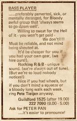 BASS PLAYER advert (TietjenUK) Tags: dixiepeach bassplayer advertisement copywriting 1960s crazy funny peterpann