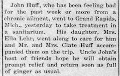 1915 - John Huff goes to Michigan sanitarium - Enquirer - 15 Jul 1915