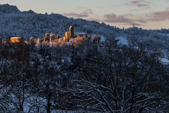 a ray of sunlight on the hillside church (lucafabbricesena) Tags: ray sunlight hillside church winter sunbeam village appennino snow italia montegelli emiliaromagna italy nikon d800 belltower country morning trees dawn snowy hills twilight