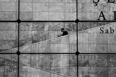 see the world from a different angle / timeless reflections (Özgür Gürgey) Tags: 2018 50mm bw d750 galatasaray nikon yapıkredi facade frames gallery grid lines marble people reflection istanbul