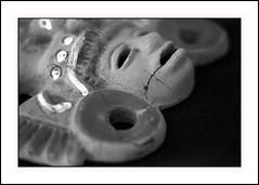 "Broken . . .  ""imperfection"" (nickylechatreux) Tags: monochrome macromondays masque histoire hmm mexique imperfection macro nb"