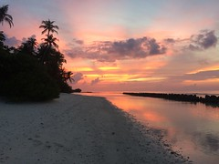 Maldivian sunset (jbourne5) Tags: sand sea ocean dusk redskyatnight clouds beach redskies paradise palmtrees maldives sunset
