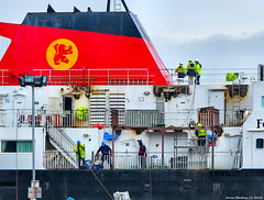 Scotland Greenock the ship repair dock men working on the car ferry Clansman 8 March 2018 by Anne MacKay (Anne MacKay images of interest & wonder) Tags: scotland greenock ship repair dock men working workmen caledonian macbrayne calmac car ferry clansman xs1 8 march 2018 picture by anne mackay