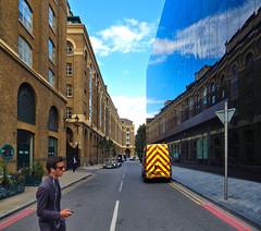 Vanishing Point Reflection (UK) (ID Hearn Mackinnon) Tags: london uk united kingdom england britain 2014 surreal street vanishing point reflected reflection glass wall inner city urban