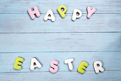 Lettering from cookies Happy Easter on wooden blue background. (lyule4ik) Tags: easter background celebration decoration decorative egg food holiday season spring tradition wood wooden happy cookies concept design natural rustic springtime texture traditional banner biscuits card celebrate closeup eggs filter flower wishes toned sprinkles white colored letter brown nest frosting bright homemade basket horizontal april shortcrust text sweet chicken nobody bakery