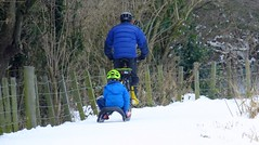 Snowy Edinburgh 036 (byronv2) Tags: snow winter weather edinburgh edimbourg scotland polwarth slateford viewforth unioncanal canal man child kid bike bicycle cycling towpath blue sled sledge