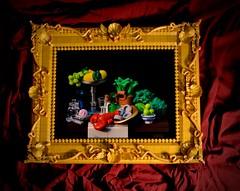 Gold frame with still life - II (birgburg) Tags: lego gold frame still life stilleben