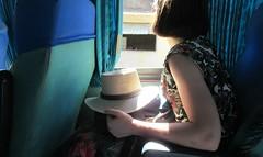 Sin embargo, queda un rayo de esperanza (Robert Saucier) Tags: mexique autobus bus bleu blue jeunefemme chapeau hat fenêtre window paille rideau curtain bras arm img9346