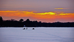 Out on the Ice (Bob's Digital Eye) Tags: bobsdigitaleye canon canonefs55250mmf456isstm clouds flicker flickr frozenlake h2o ice icefishing march2018 silhouette sky snowscene sunset sunsetoverwater t3i winter wintercolour winterinmn laquintaessenza