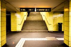Yellow [Berlin #2] (Un ragazzo chiamato Bi) Tags: underground bahn berlin yellow urban sony a7 fe 28mm f2 stairs stairway woman