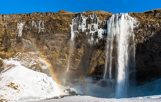 Seljalandsfoss and rainbow