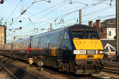 82220+91131 1E24 (Cumberland Patriot) Tags: gner great north eastern railway inter city 225 ic225 ic intercity225 intercity br british rail engineering limited ltd gec class 91 electra 91031 sir henry royce 91131 county of northumberland electric locomotive loco mark four iv dvt driving van traler carriage coach 82220 ecml east coast main line 1e24 express passenger train newcastle central station platform stop railroad railways rails track tracks