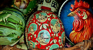 Vintage Easter Eggs, Paper Mache (EGG-CELLENT) Germany, 1920s paper mache, exceptional vibrancy in color & design