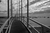 Not a Day for Sailing (armct) Tags: pier wharf bay calm boats sailing sorrentosailingcoutaboatclub railing monochrome blackandwhite contour cloud sky sand yacht boat recreation silhouette reflection perspective depthoffield waves