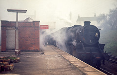 Black 5 4-6-0 No. 45222 arriving at Rugby Central with a train from Nottingham on 7th April 1966. (Pam & Bryan) Tags: steamlocomotive greatcentral rugbycentral black5 45222