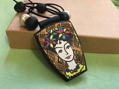 "Frida Kahlo"" (rosalindvernon1) Tags: pendant jewellery polymer clay art drawing kato fimo frida kahlo painting colour tracing necklace illustration rosalind vernon"