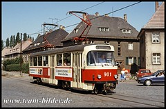 901-1992-06-28-2-Straße des Friedens (steffenhege) Tags: hallesaale halle strasenbahn streetcar tram tramway ckd t4d t4dzr 901