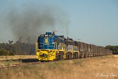 Subtle Silos (Henry's Railway Gallery) Tags: 48203 48215 48218 48class alco diesel pacificnational pn graincorp freighttrain graintrain 3926 boreecreek