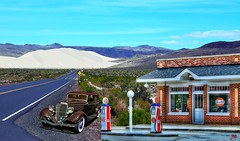Gulf Oil in the Desert (Mike Pesseackey aka UAGUY1) Tags: ford 1934 desert mountains nevada art digitalart compilation vintage vintageautos sand highways highmountaindesert scenic landscapes photoshop nikon layers servicestations gulfoil christiangroup