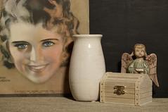 Still Life with Sheet Music cover art (N.the.Kudzu) Tags: home tabletop stilllife sheetmusic art vase wooden box angel canon70d industar50mmf35