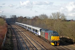 Europheinx 37608 'Andromeda' on hire to ROG with Class 345 No 345024 passes Thurmaston, MML on 16.3.18 with 5Q82 1310 Crewe C.S. (L&Nwr Site) - Old Oak Common T.M.D. unit move  after tyre turning at Crewe (Paul Biggs) Tags: