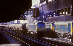 Weaste Tanks In The Shadows (Michael McNicholas) (Neil Harvey 156) Tags: railway 47303 31289 47426 manchestervictoria manchester oiltanktrain oiltanks weastetanks 6e31 class47 brblue railblue brushtype4 sulzer duff spoon michaelmcnicholas
