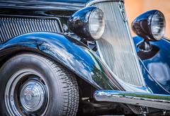 Vintage Black Auto Front End 2 (grimeshome) Tags: oldcar vintagecar vintageautomobile vehicle automobile classiccar classicauto classicautomobile blackcar black tire fronttire fender headlight headlamp grill chrome reflection sigmalenses wheel classic