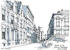 Place de la Vieille-Montagne (gerard michel) Tags: belgium liège place sketch croquis