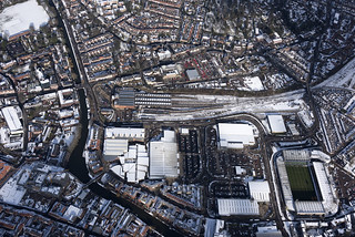 Norwich railway station aerial - there's a steam train parked just below the station