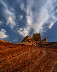 Contemplative Pocket (Mark Metternich) Tags: ngc southwest south desert sandstone sand arizona utah lines thunderstorm thunderhead workshops workshop tours tour markmetternich markmetternichcom mammatus clouds red white blue storm sunset pocket pockets remote 11mm canon sony a7r2