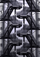 Stair Mania (Joseph Pearson Images) Tags: stairs steps abstract blackandwhite mono london fireescape