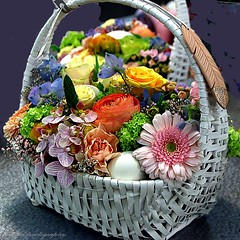 Spring bouquet in basket (jackfre 2) Tags: antwerp flowers basket spring colours belgium