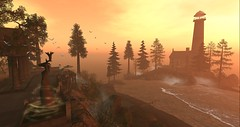 Here Comes The Sun_elyson (larisalyn) Tags: mist tree sky sunset landscape sunrise lighthouse