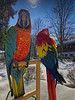 Macaws in the snow (My pets Lara and Lucy) (Alzheimer1) Tags: schwendt tirol österreich at macaw parrot bird