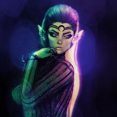 The one that got away... (SiLverMoon Namiboo) Tags: elf elven fair fairy fae fantasy moon dark night lights beams black drow sl second life rp roleplay catwa lilly bento tiara belleza freya stargazer blx blaxium silvermoon namiboo