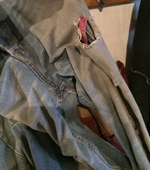 Old ripped jeans in garage (adorn2013) Tags: ripped torn dirty old pants denim jeans