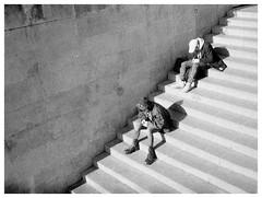 the last sun in paris (irgendwiejuna) Tags: paris blackwhite rollei te35 rolleite35 kodak trix400 analogue filmphotography grain people stairs blackandwhite ishootfilm