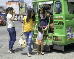 Arrived (Beegee49) Tags: street jeepney public transport family children filipina bacolod city philippines