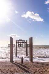 Photographing the remains of the West Pier, Brighton (Zoë Power) Tags: westpier beach uk brighton derelict blueskies coast sea seaside