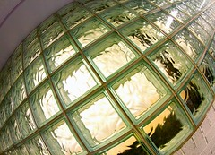 Glass Bricks (Karen_Chappell) Tags: glass bricks abstract green fisheye canonef815mmf4lfisheyeusm wideangle architecture building stjohns tilt angle geometry geometric squares square refraction